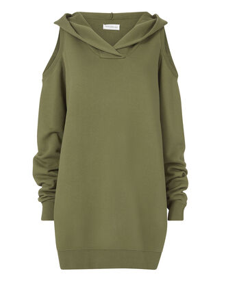 Cold Shoulder Hooded Sweatshirt Dress, GREEN, hi-res