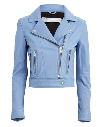 Hartley Leather Moto Jacket, PALE BLUE, hi-res