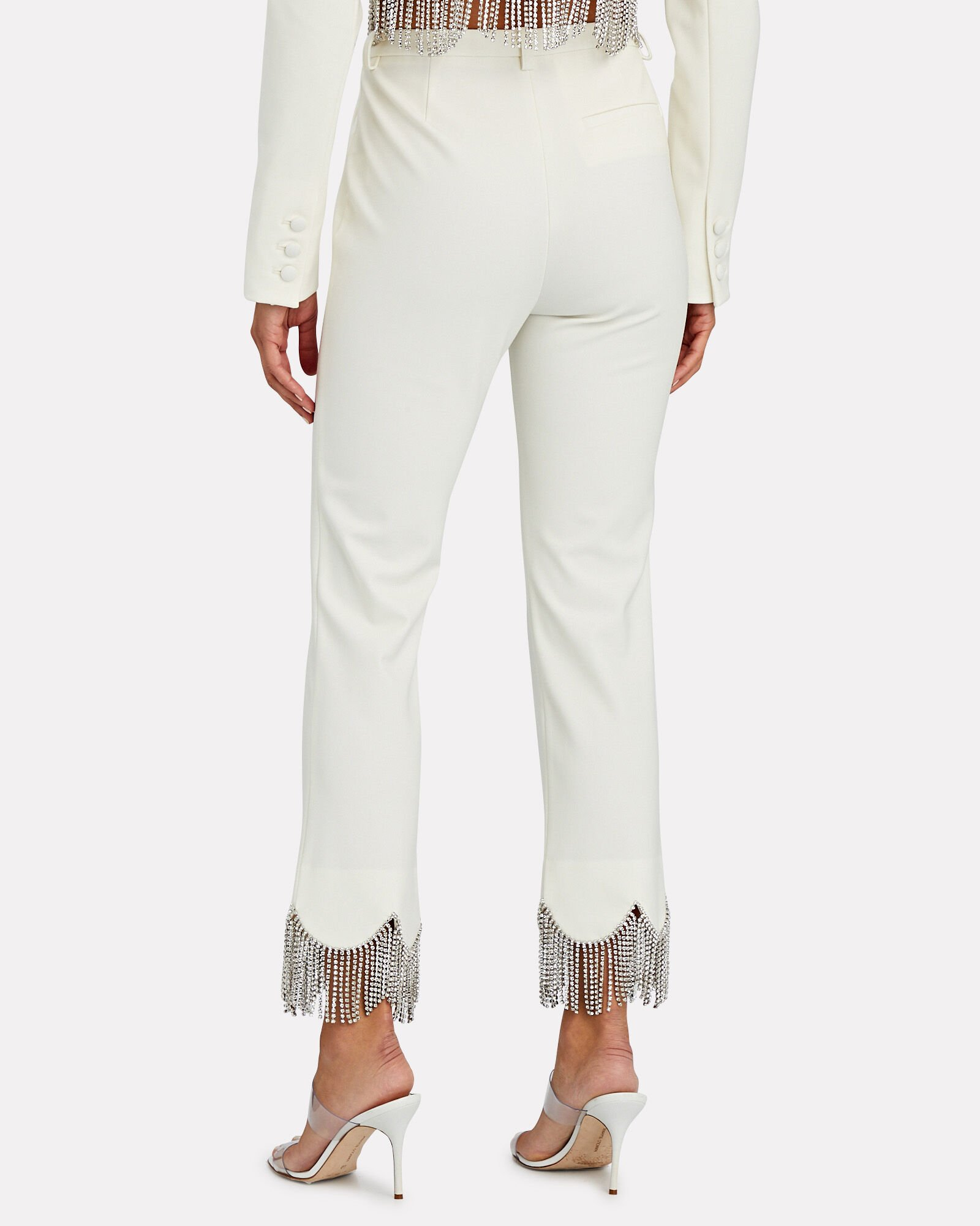 Crystal Fringed Cigarette Pants, IVORY, hi-res