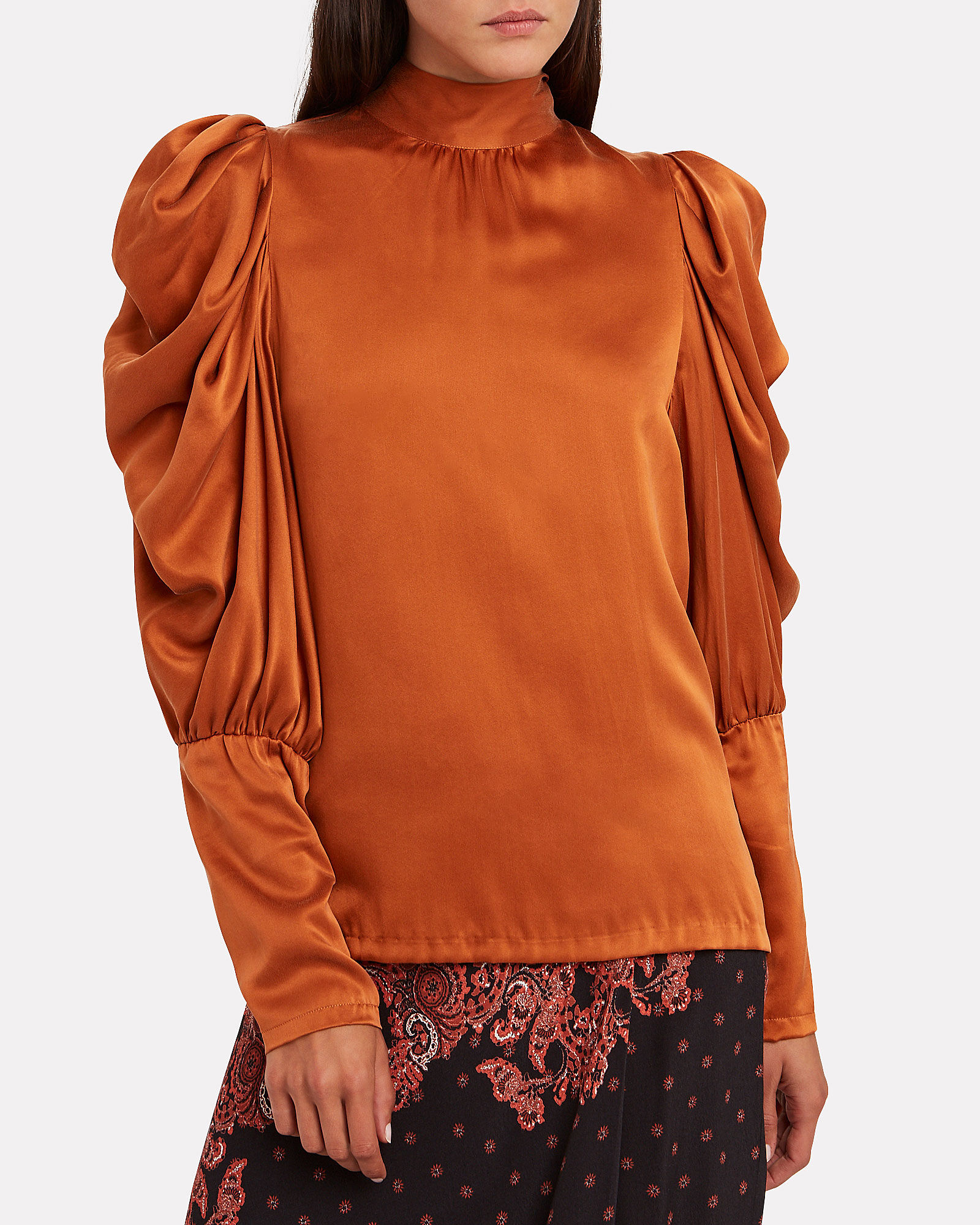 Missy Tie-Neck Silk Blouse, AMBER, hi-res