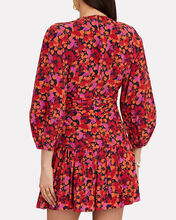 Talia Twisted Floral Mini Dress, BLACK/RED, hi-res