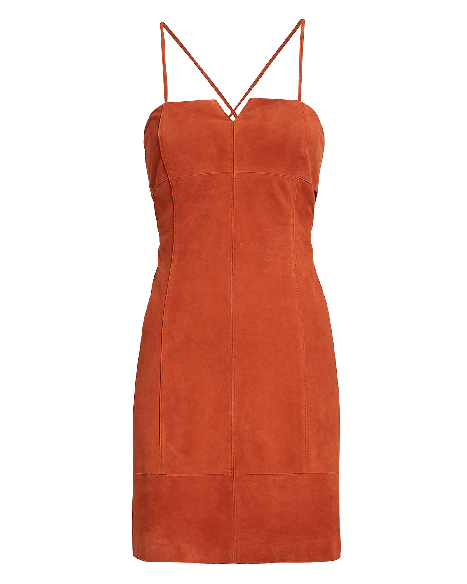 Marissa Suede Mini Dress, CORAL, hi-res