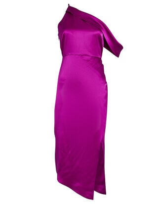 One-Shoulder Draped Silk Dress, MAGENTA, hi-res