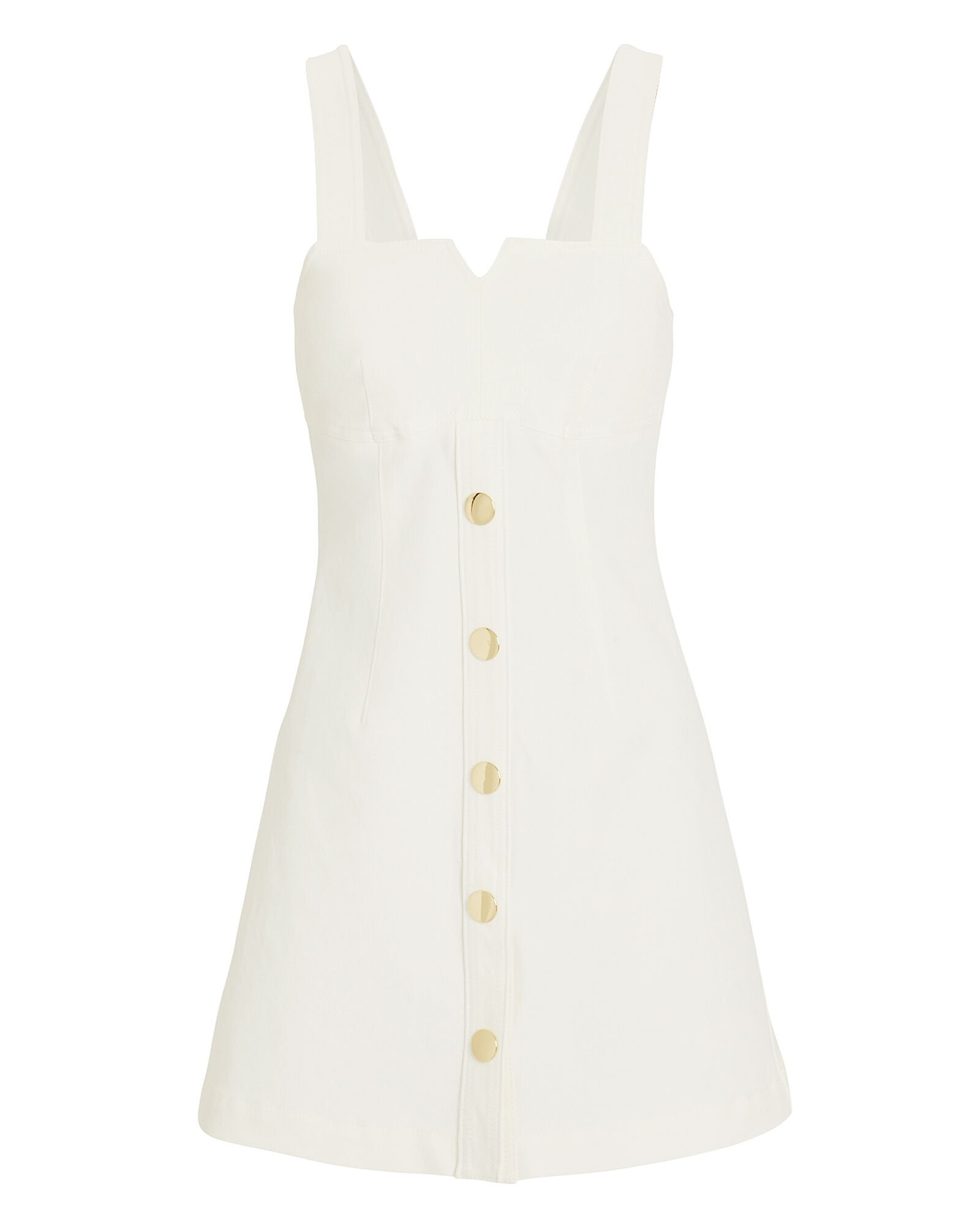 Twill Button Front Dress, WHITE, hi-res