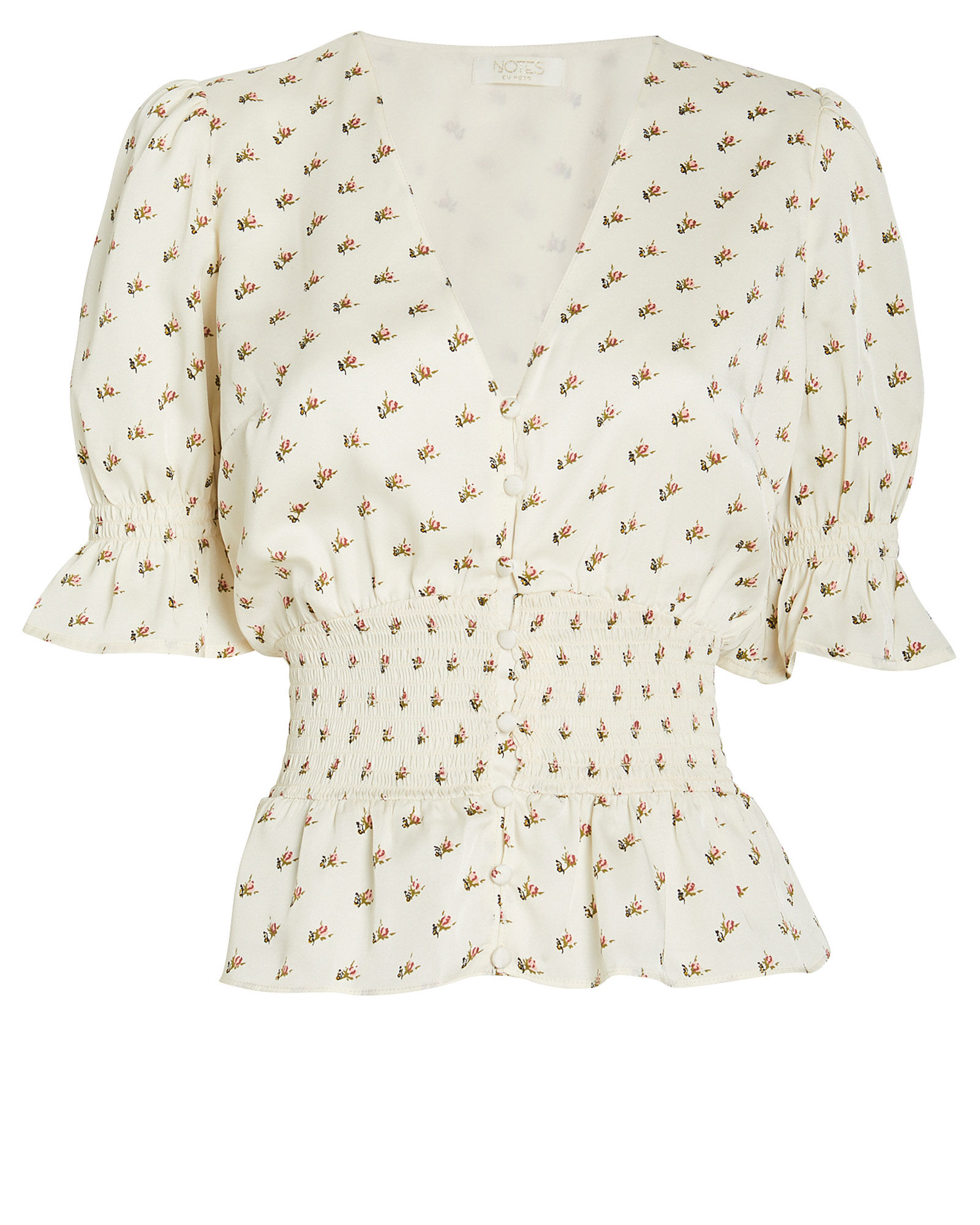 Lucy Floral Peplum Blouse, WHITE, hi-res