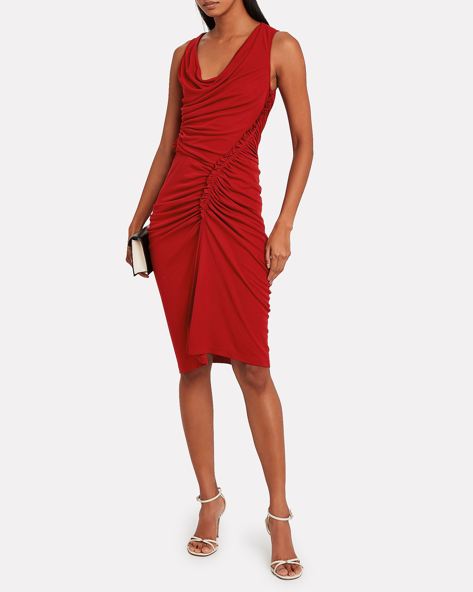 Asymmetric Ruched Jersey Dress, RED, hi-res