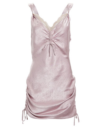 Lace-Trimmed Satin Slip Dress, LILAC, hi-res