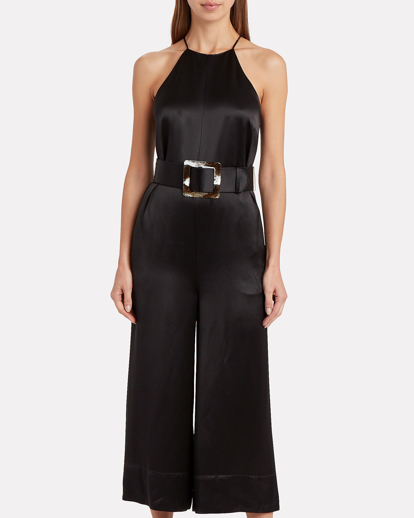 Samira Cropped Satin Jumpsuit, BLACK, hi-res