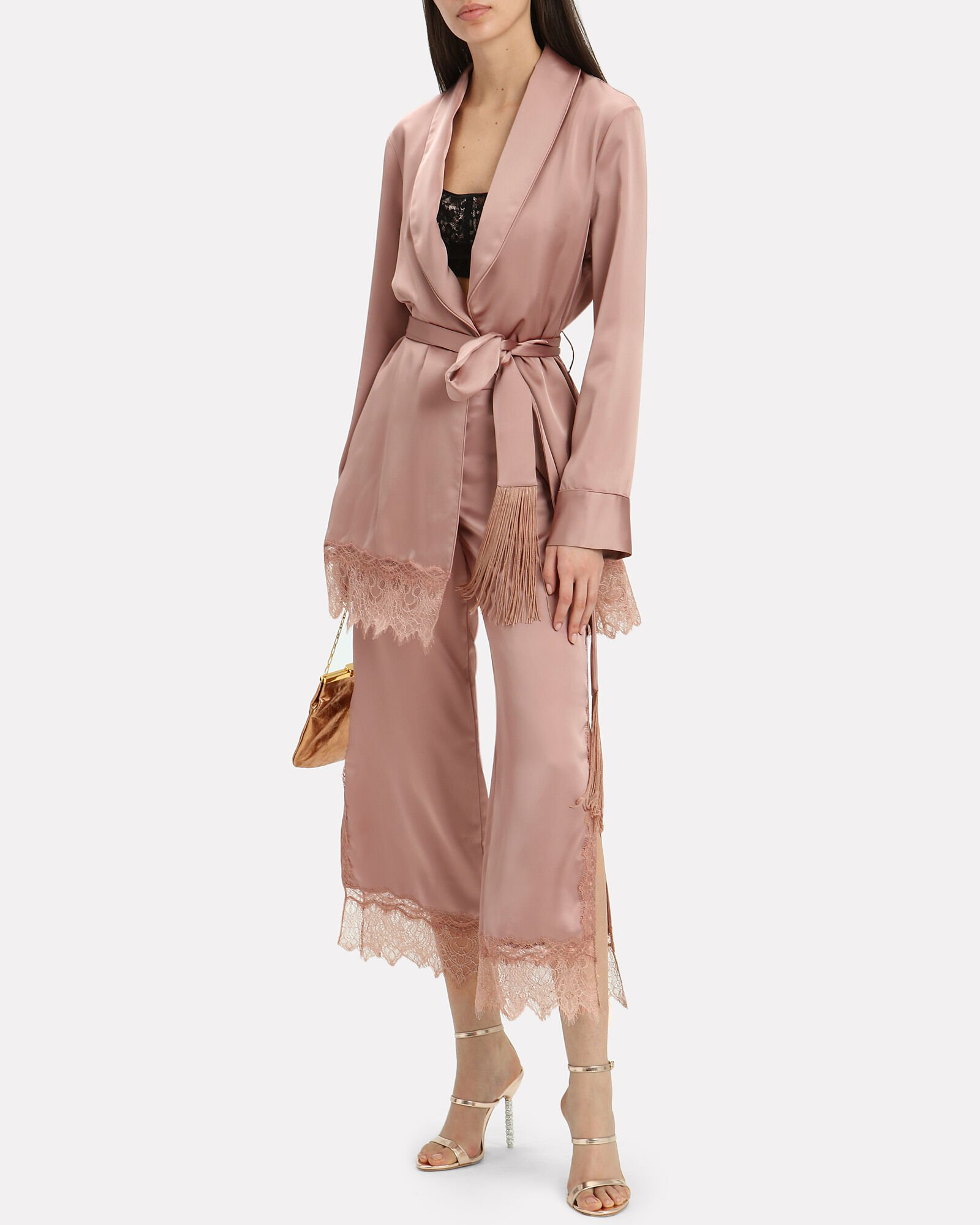Lace Trim Robe, BLUSH, hi-res