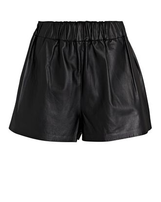 Leather Pull-On Shorts, BLACK, hi-res