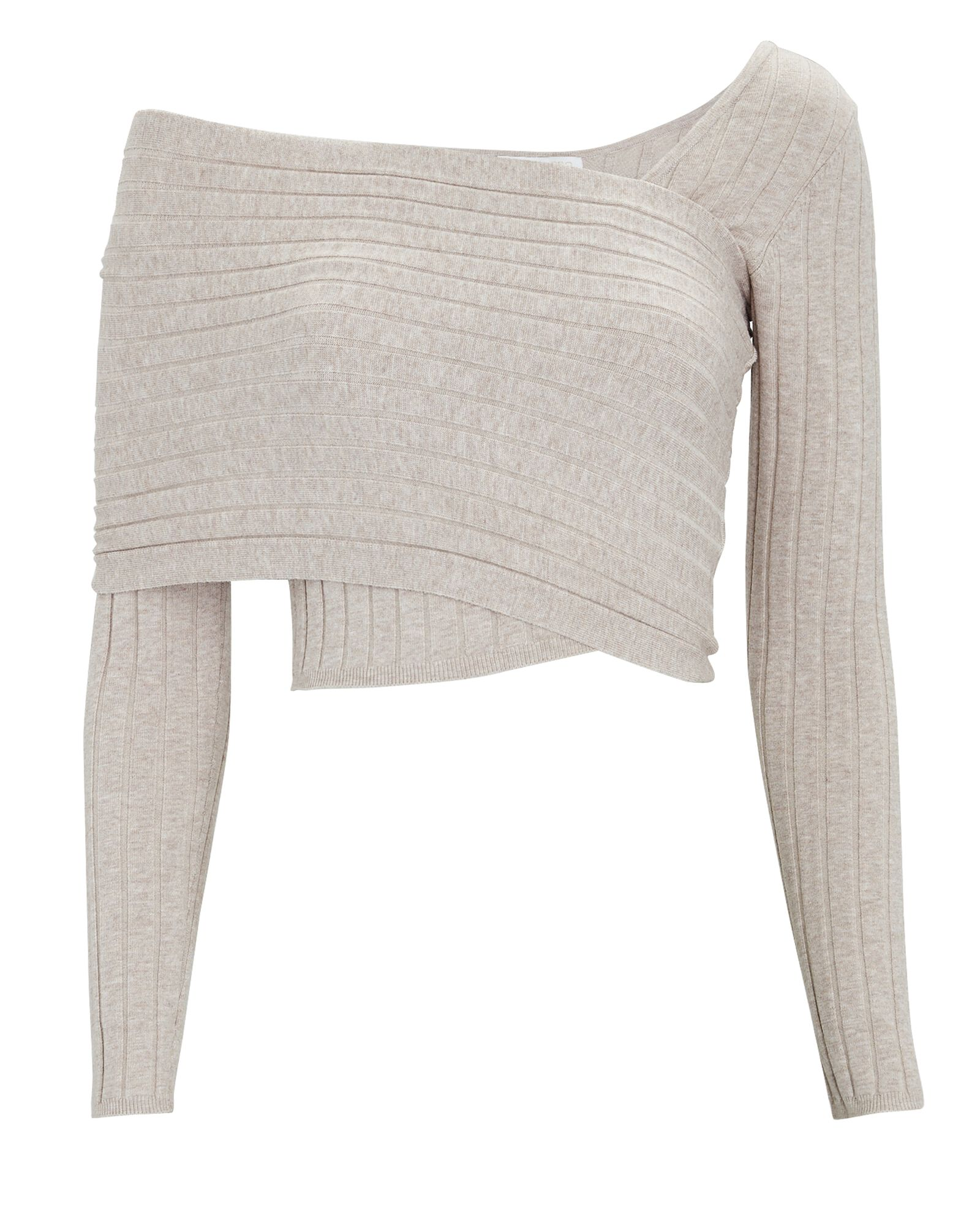 Rosette Asymmetrical Rib Knit Top, IVORY, hi-res