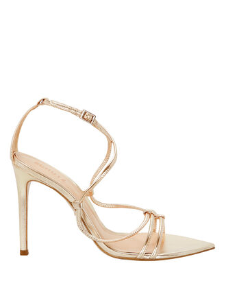 Evellyn Strappy Gold Leather Sandals, GOLD, hi-res