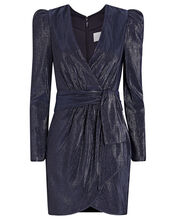 Metallic Mini Wrap Dress, , hi-res