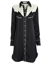 Western Satin Shirt Dress, BLK/WHT, hi-res