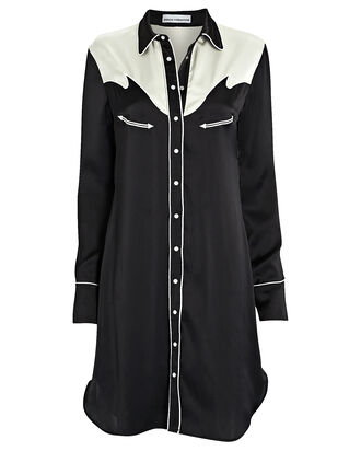 Western Satin Shirt Dress, BLACK/WHITE, hi-res