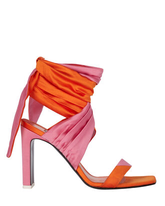 Paris Satin Colorblock Wrap Sandals, PALE PINK/ORANGE, hi-res