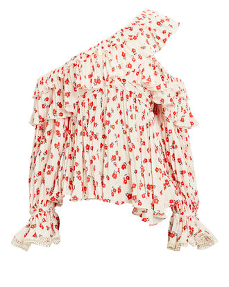 One Shoulder Floral Top, RED/WHITE, hi-res