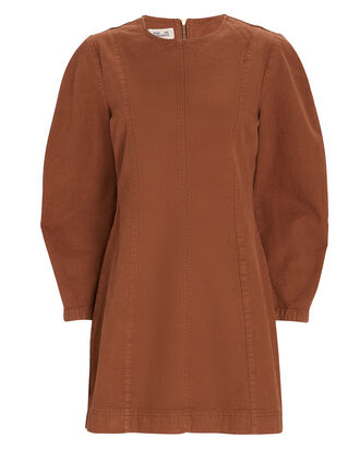 Alfreda Puff Sleeve Mini Dress, BROWN, hi-res