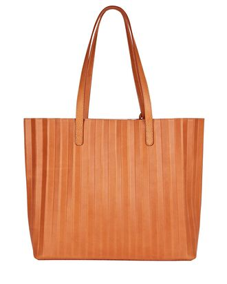 Pleated Leather Tote Bag, BROWN, hi-res