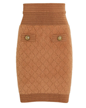 Diamond Knit Mini Skirt, BROWN, hi-res