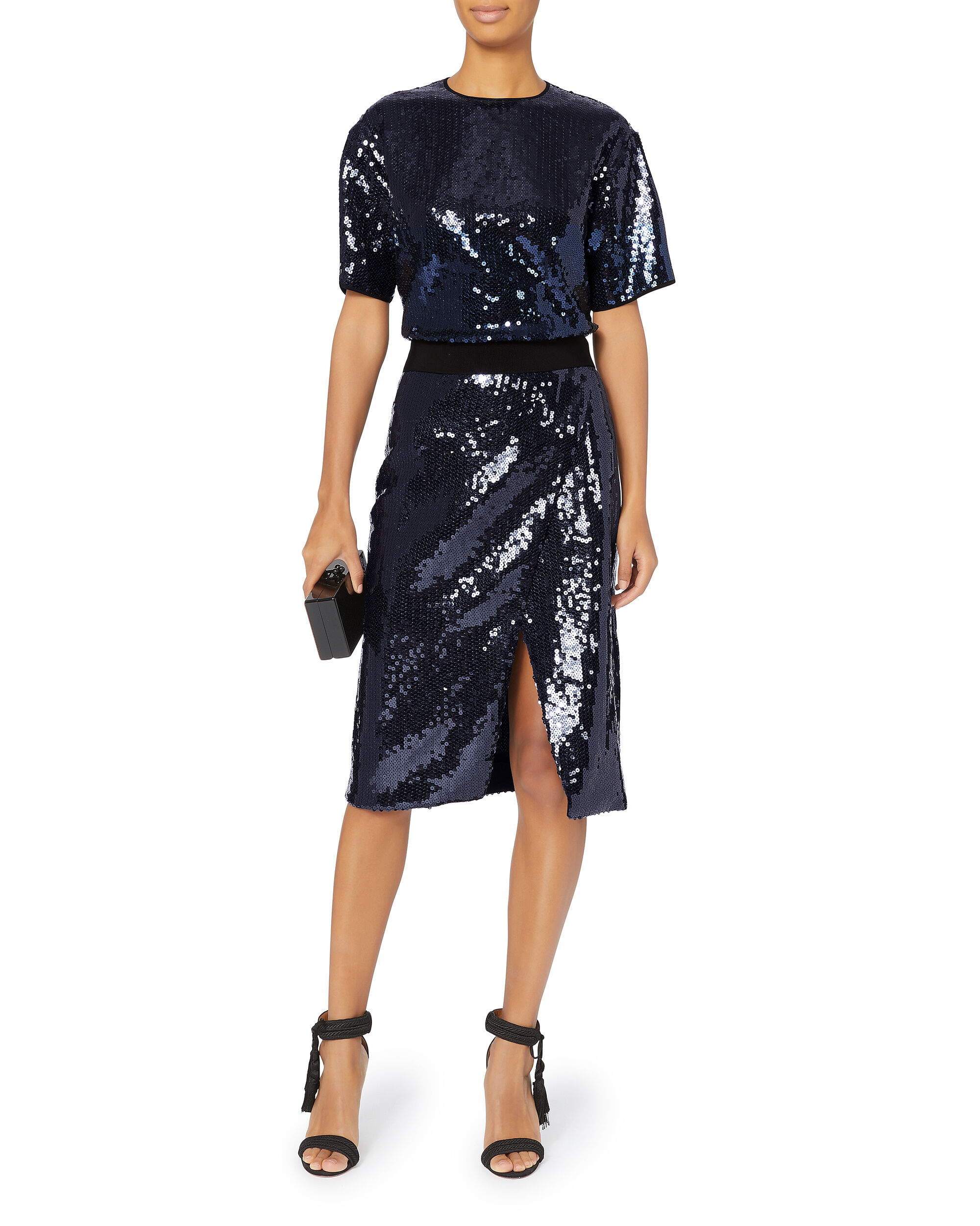 Navy Sequin Skirt, NAVY, hi-res