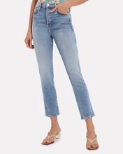 Double Needle Stretch Jeans, MEDIUM BLUE DENIM, hi-res