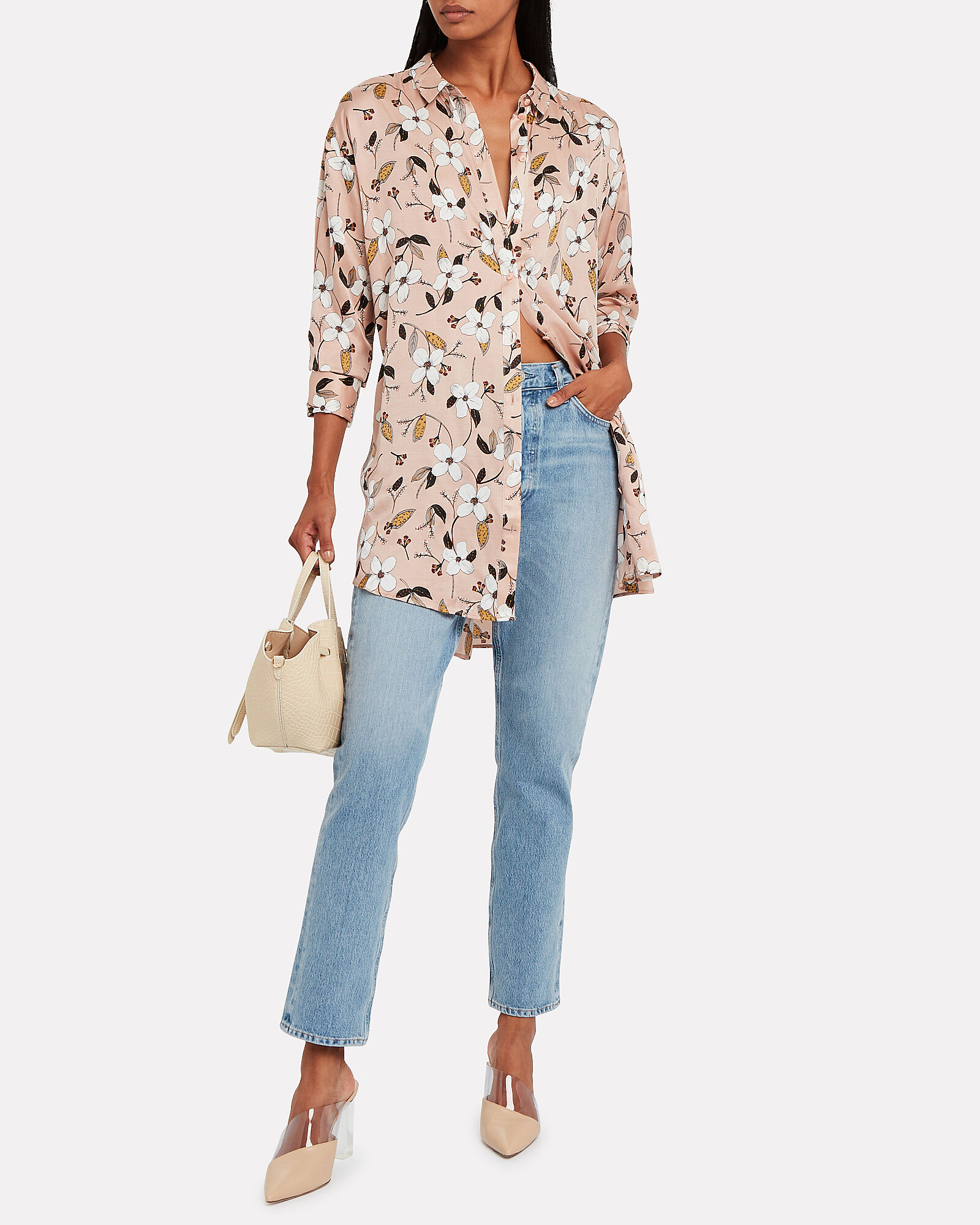 Dark Satin Floral Blouse, BEIGE, hi-res