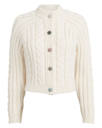 Diamanté Wool-Blend Cable Cardigan, IVORY, hi-res