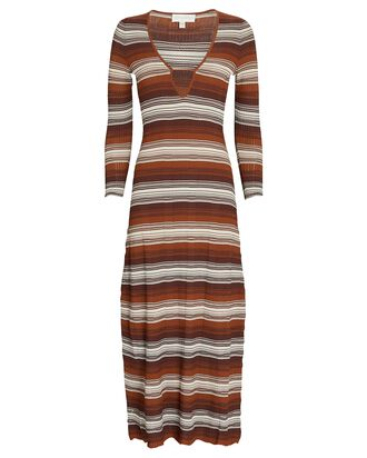 Fiona Striped Rib Knit Midi Dress, BROWN/IVORY, hi-res