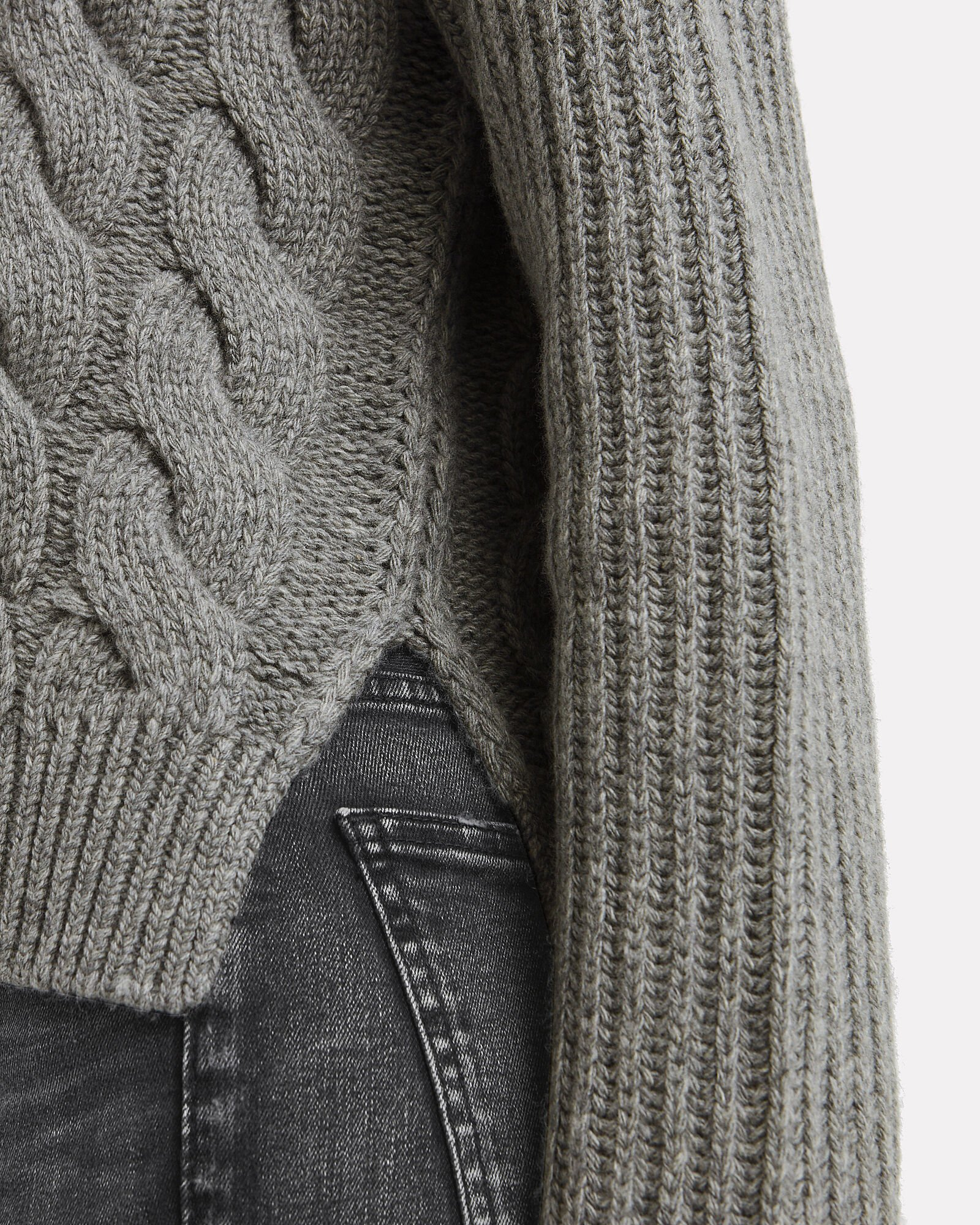 Lambswool Cable Knit Sweater, GREY, hi-res