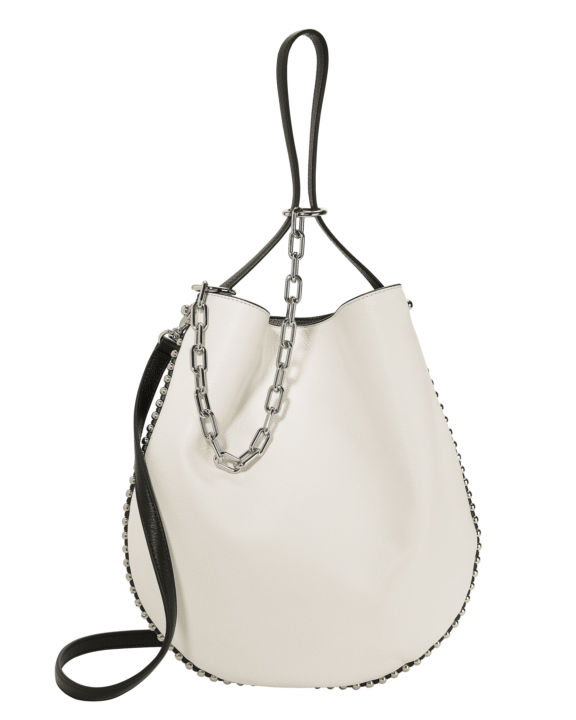 Roxy White Leather Hobo Shoulder Bag, WHITE, hi-res