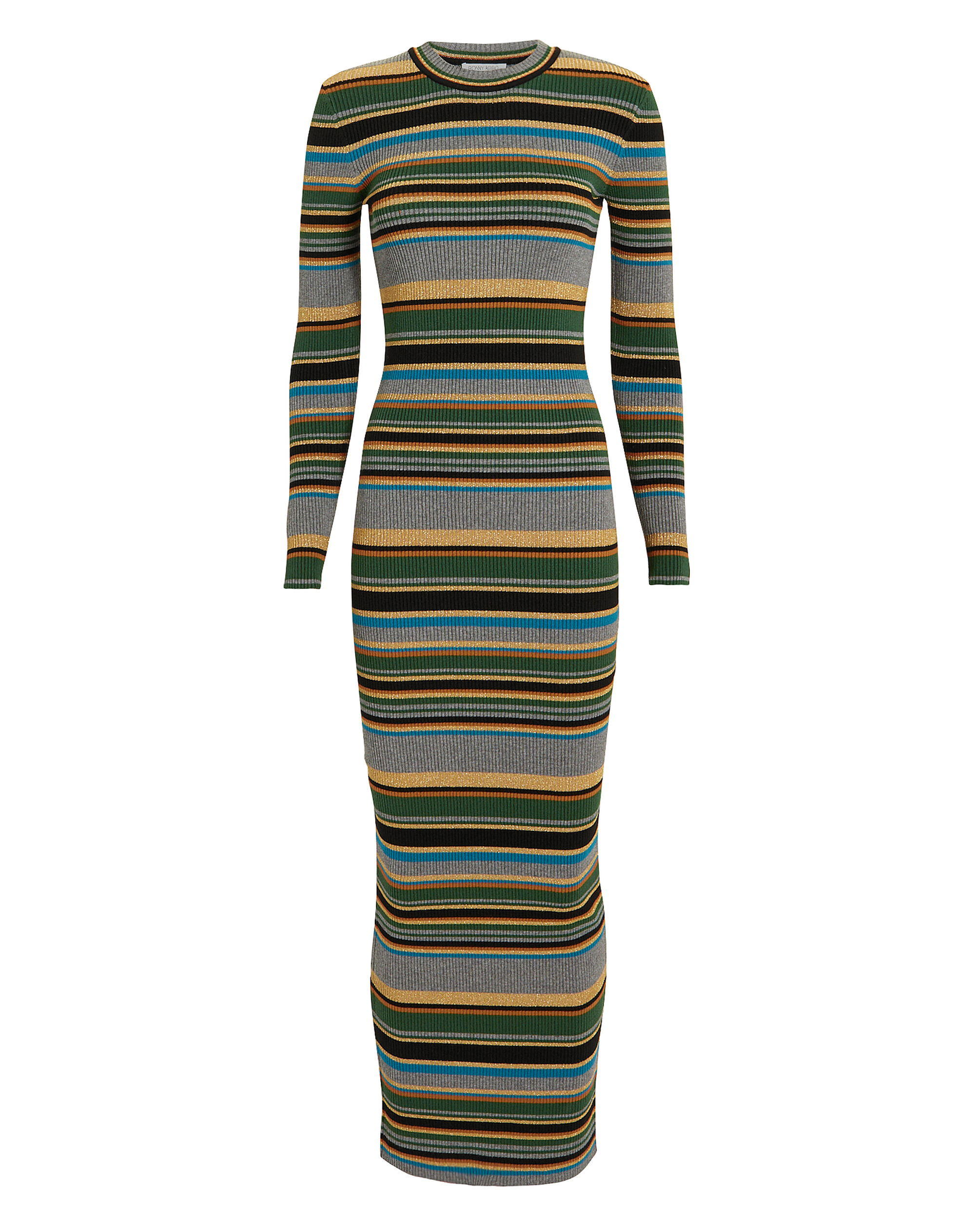 Tilda Striped Dress, GREY/BLACK/GOLD, hi-res