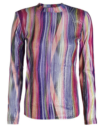 Toby Striped Lurex Top, MULTI, hi-res