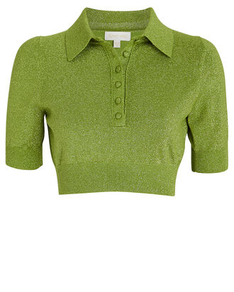 Madigan Cropped Lurex Polo Top, GREEN, hi-res