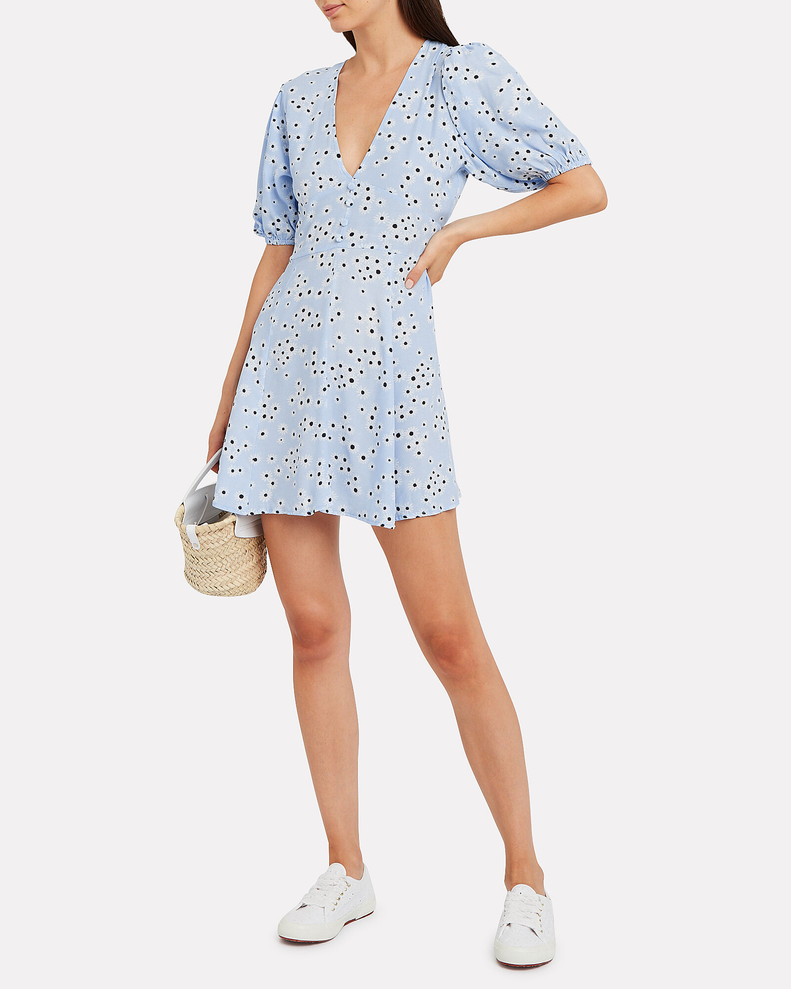 Ilia Floral Mini Dress, BLUE-LT, hi-res