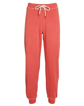 The Cropped Cotton Joggers, RED, hi-res