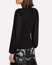 Swiss Dot Turtleneck Top, BLACK, hi-res
