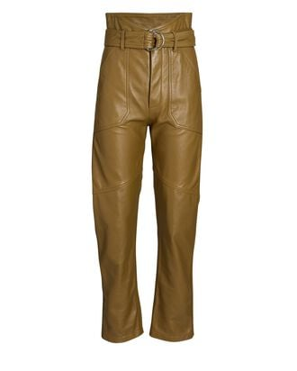 Bennett Cropped Leather Pants, BROWN, hi-res