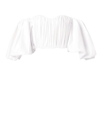 Bachelorette-Ruched Corset Top, WHITE, hi-res