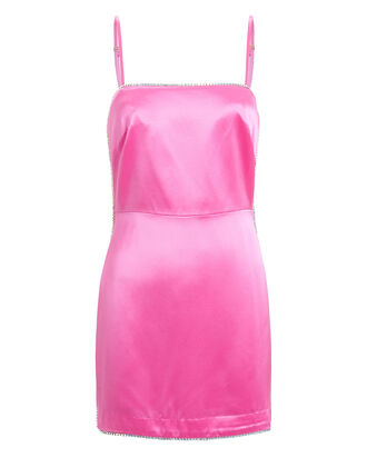 Crystal-Embellished Satin Mini Dress, PINK, hi-res
