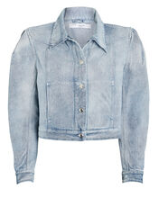 Orkey Puff Sleeve Denim Jacket, LIGHT WASH DENIM, hi-res