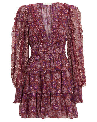 Brisa Printed Ruffle Mini Dress, BURGUNDY/PURPLE, hi-res