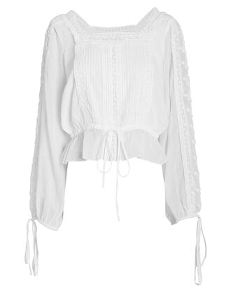 Pippa Tie Sleeve Cotton Blouse, WHITE, hi-res