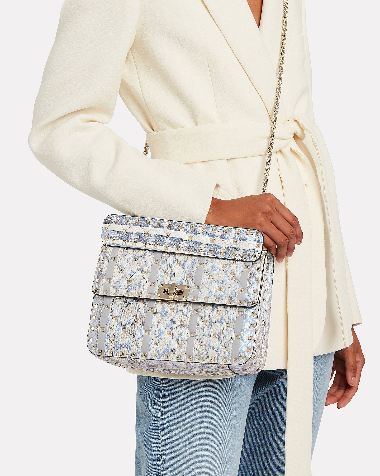 Rockstud Quilted Snakeskin Bag, GREY, hi-res