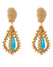 Embroidered Tear Drop Earrings, GOLD, hi-res