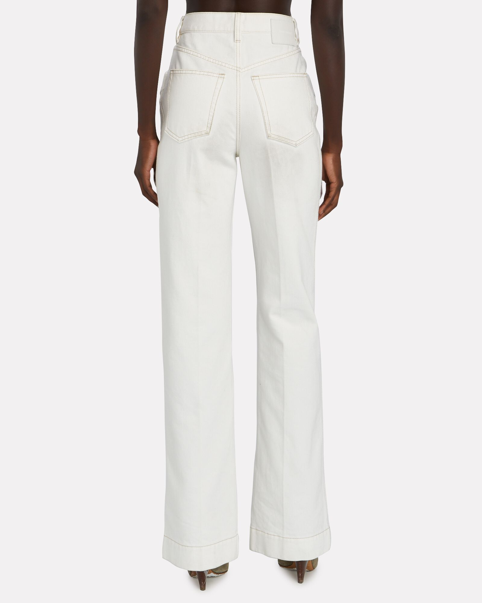Vintage High-Rise Flared Jeans, WHITE, hi-res