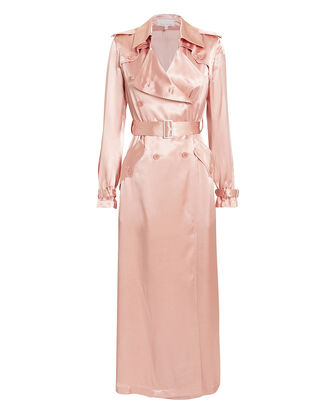 Rosewater Satin Trench Coat, BLUSH, hi-res