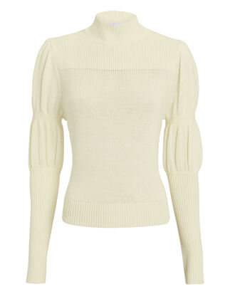 Puff Sleeve Ivory Sweater, IVORY, hi-res