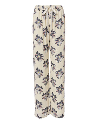 Welsley Floral Print Silk Pants, PRINT, hi-res