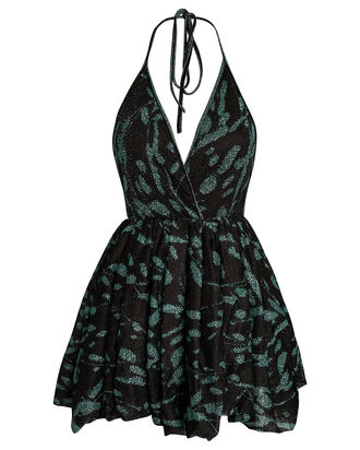 Printed Knit Mini Dress, BLACK/GREEN, hi-res